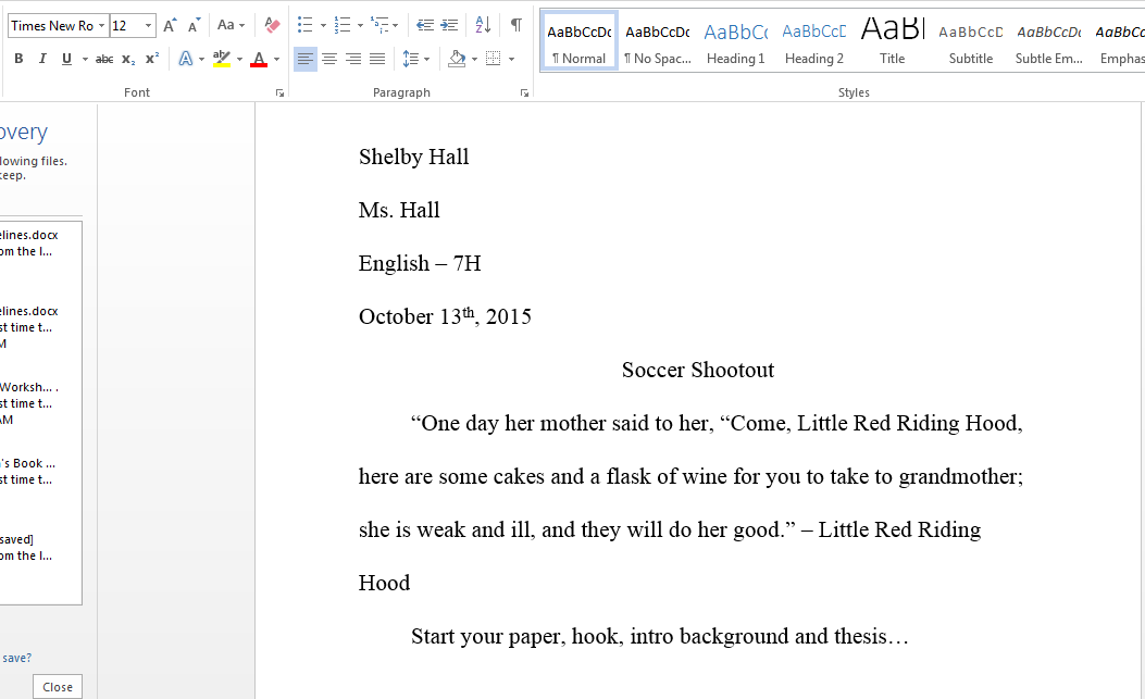 Narrative essay in mla