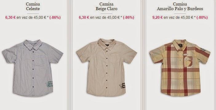 Ejemplos de camisas de manga corta para niños