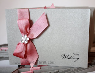 Dusty pink handmade wedding invites
