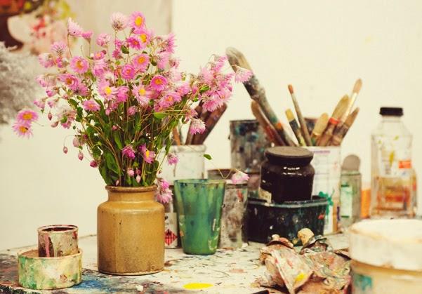 flores y detalles estudio de un pintor