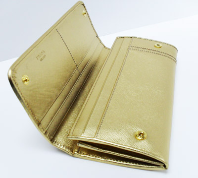Prada Saffiano Leather Wallet w Bow - Platinum Gold *limited edition*