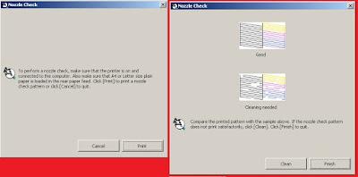 Proses Pencetakan Nozzle Check pada printer Epson