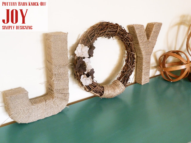 JOY {Pottery Barn Knock-Off} | simple DIY Holiday or Christmas decor inspired by PB | #crafts #holidaycrafts #christmas #diygifts #CraftersRAK #spon