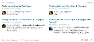 Tampilan bot post di bagian bawah comment box disqus di Danlogs.com