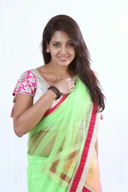 Bhavani Reddy New Pics in Green Saree Pink Blouse