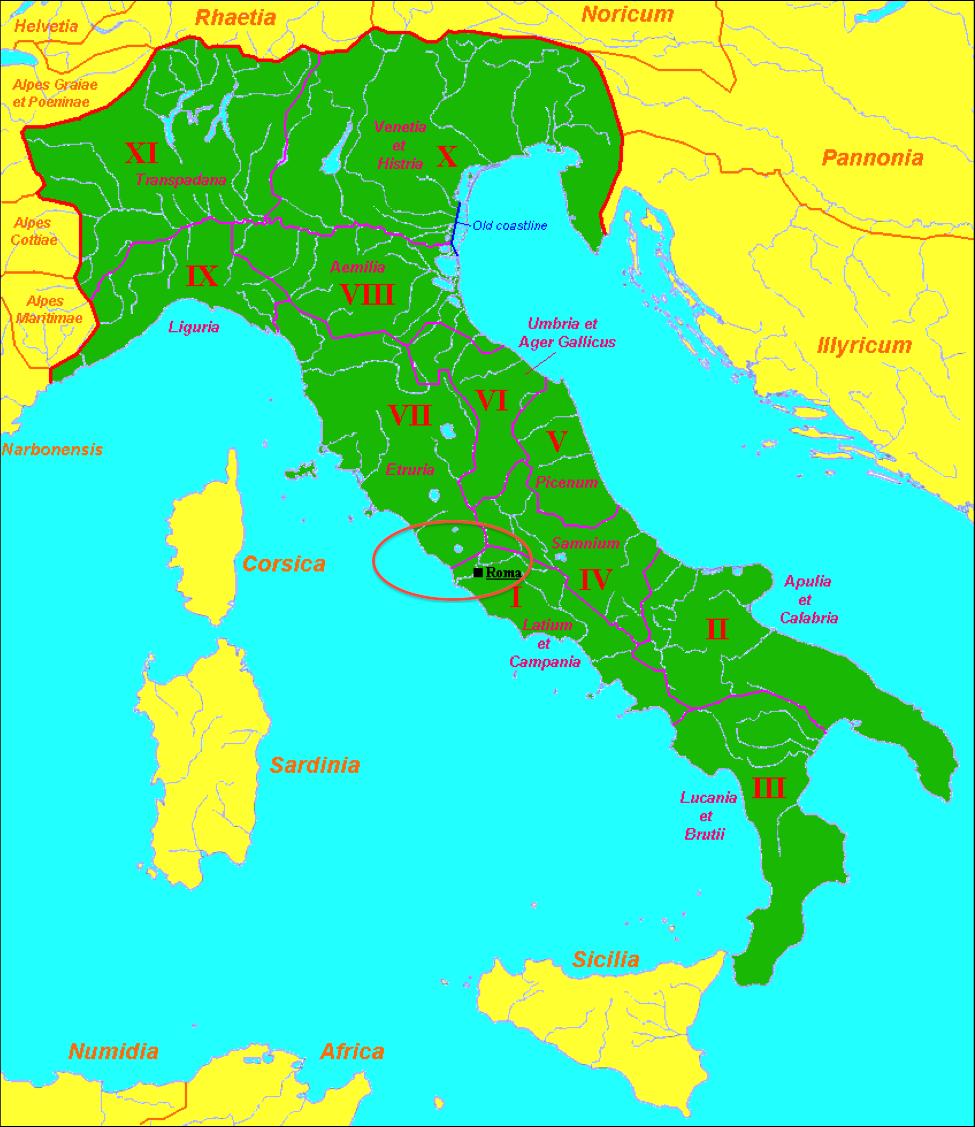 Almacn de clsicas MAPA DE LAS REGIONES DE ITALIA siglo I