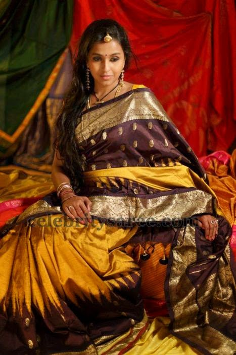 Singer Smitha Mustard Silk Saree
