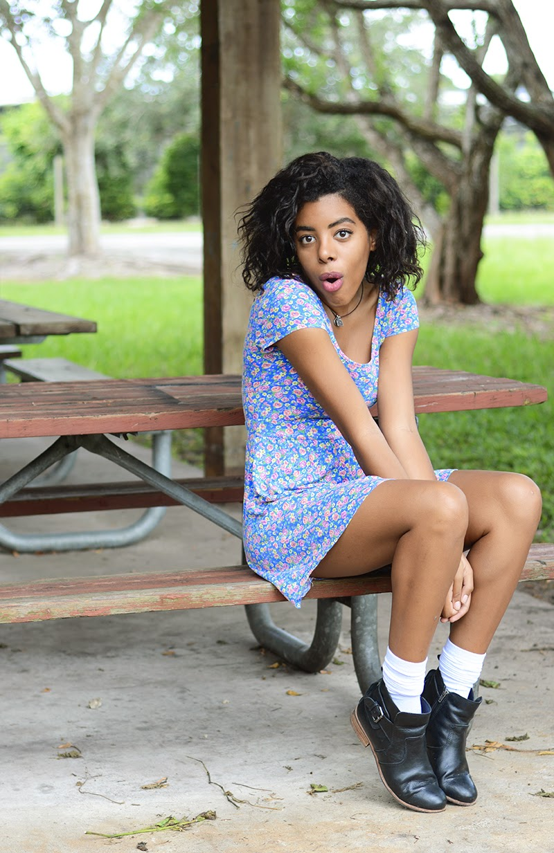 Miami Fashion Blogger Anais Alexandre of Down to Stars in a Forever 21 floral print dress with white target socks and dolce vita rodge boots