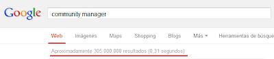 """Imagen del Nº de resultados de búsquedas con la palabra """"Community Manager"""" en Google España: 305.000.000"""