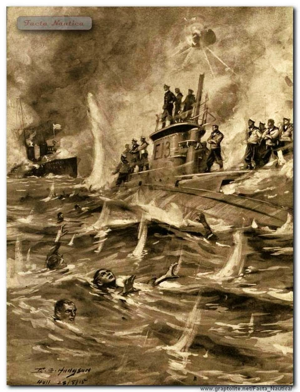 Drawing of sinking of Submarine E13