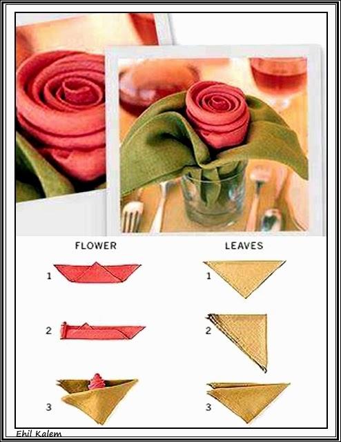 Как сделать салфетку розочкой для стола