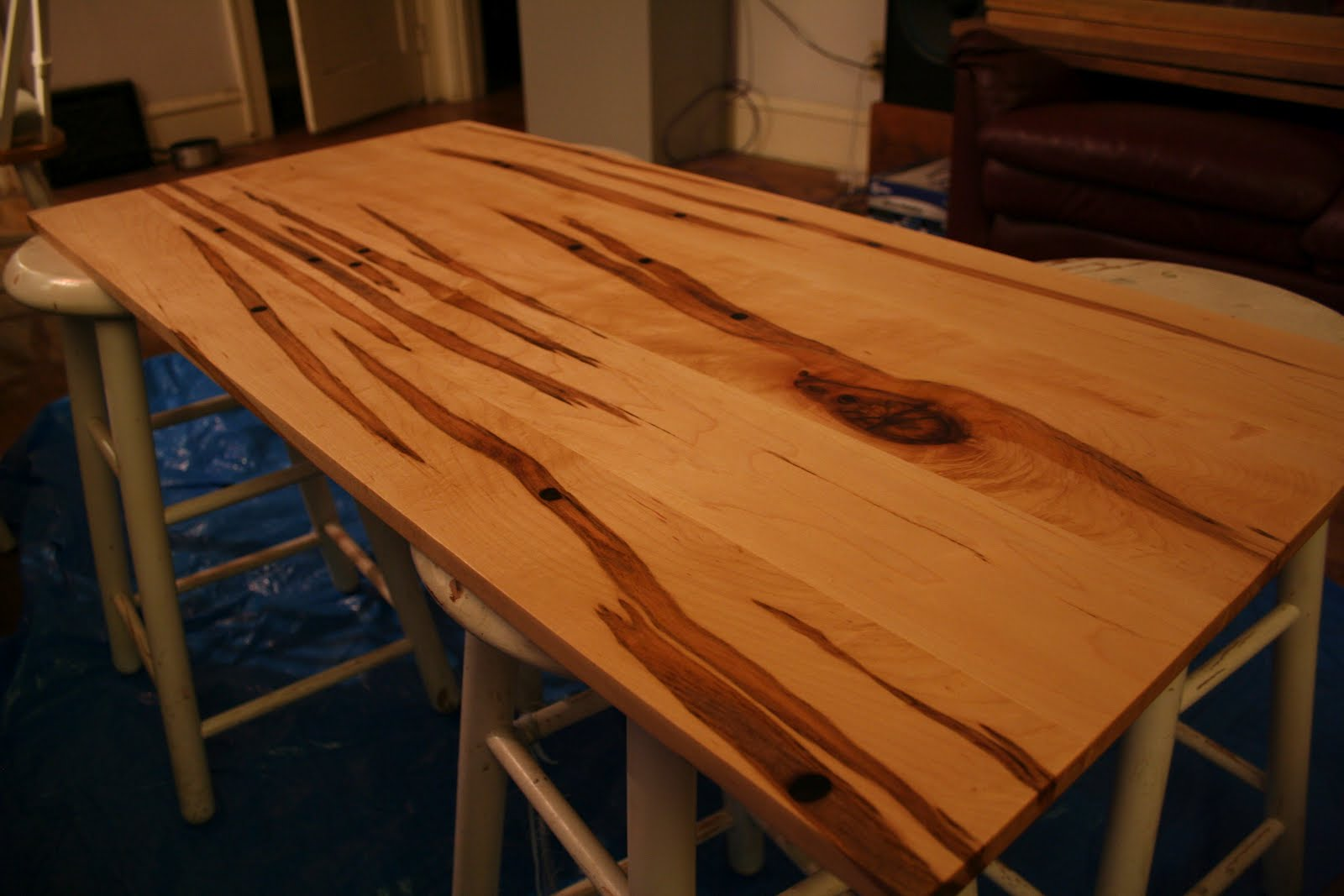 tap hole maple desk top and walnut lumber vaughan woodworks