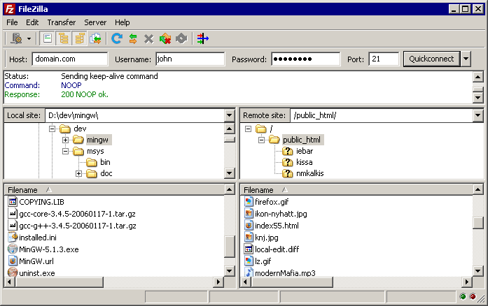 Navigating on the server filezilla