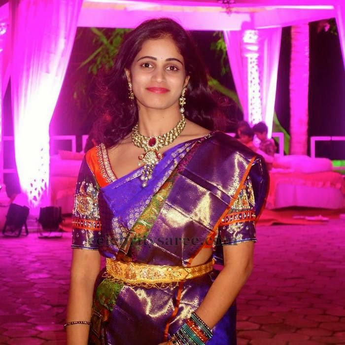 Purple Silk Saree by Mugdha Arts