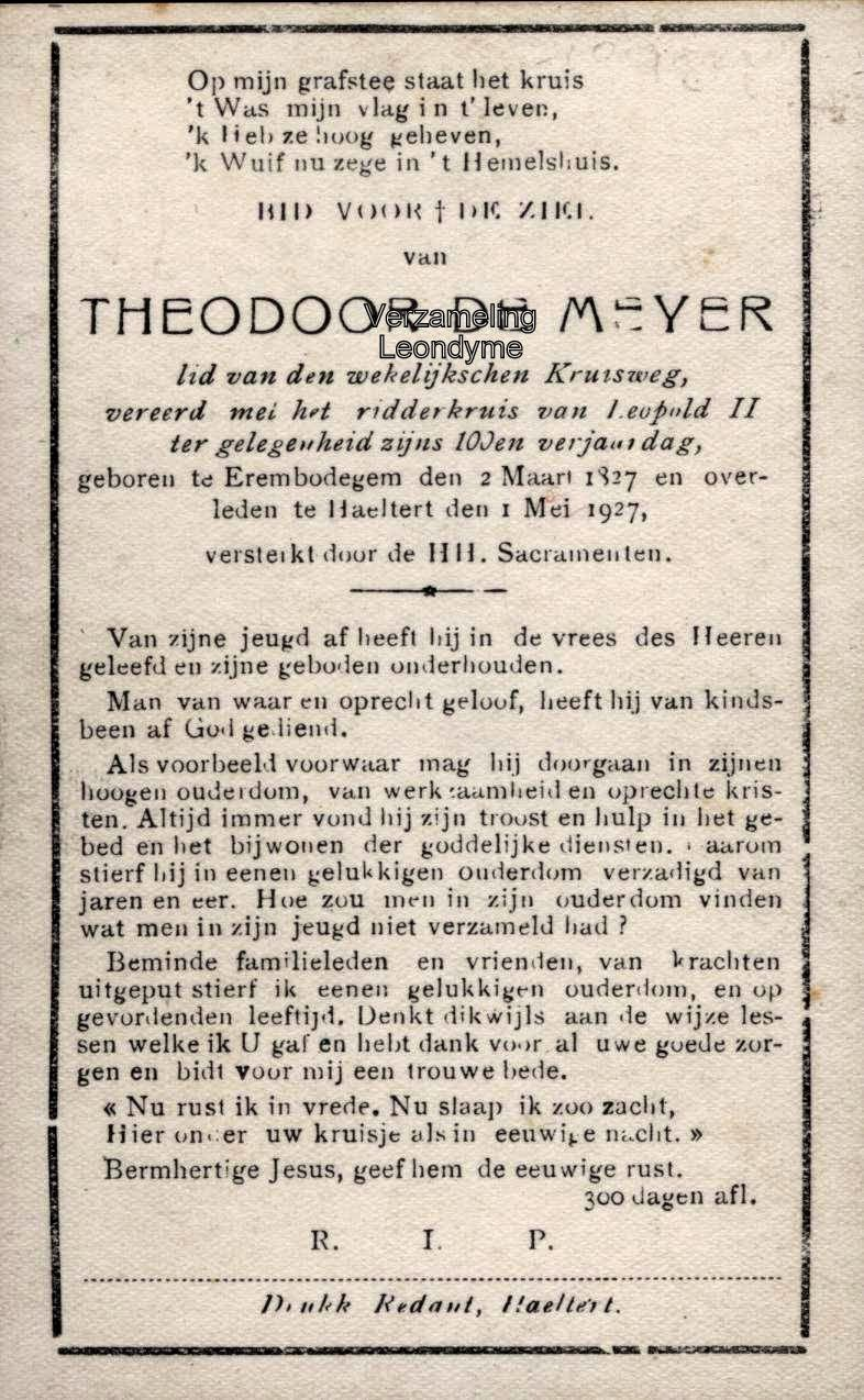Bidprentje Theodoor De Meyer 1827-1927. Verzameling Leondyme