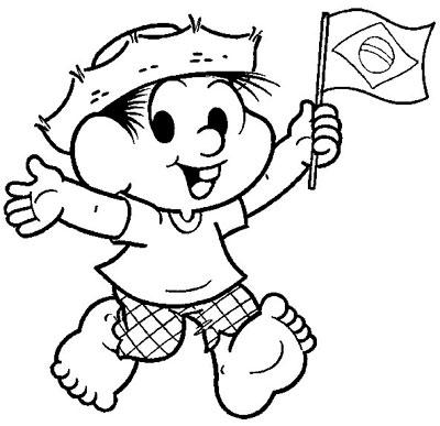 Desenho Dia da Pátria pra colorir Chico Bento Turma da Mônica