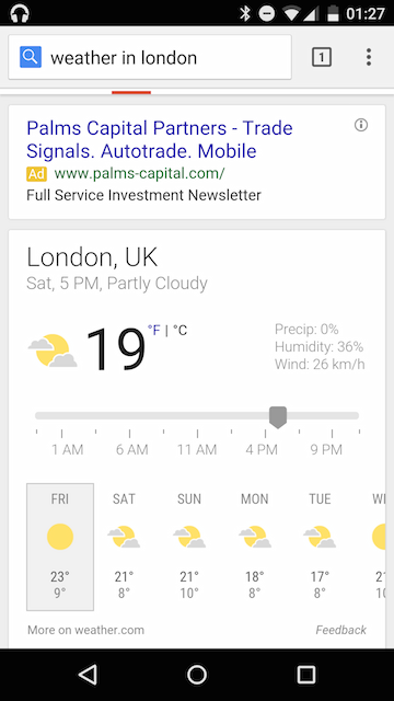 10 Day Weather Cards In Google Mobile Search
