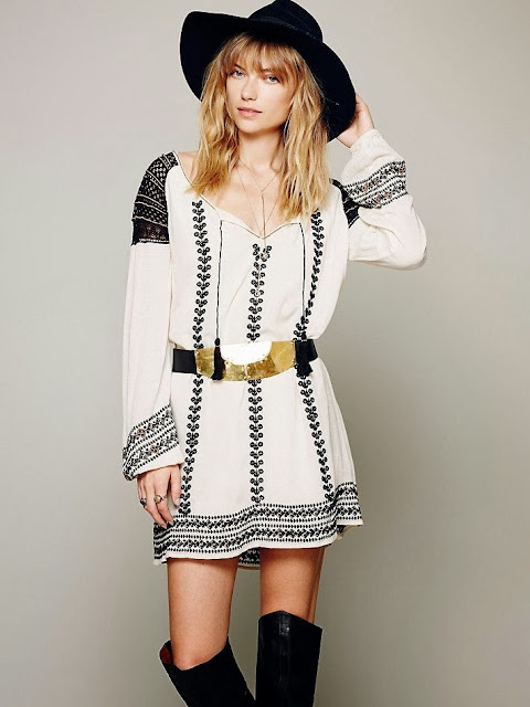 White Wild Child Embroidered Dress With Belt
