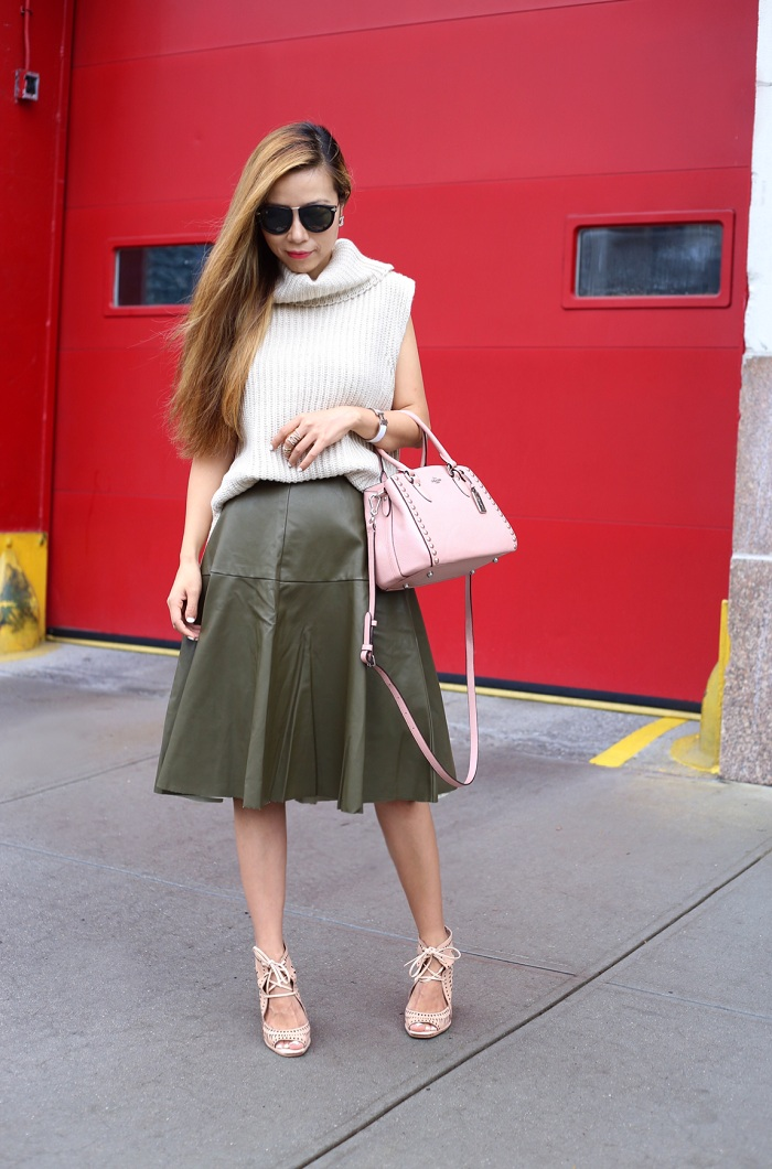 ASTR sleeveless turtleneck sweater, joa faux leather skirt, coach empire carryall, karen walker harvest sunglasses, Jeffrey campbell wedges, fashion blog, fall essentials, fall fashion, street style, nyc blogger
