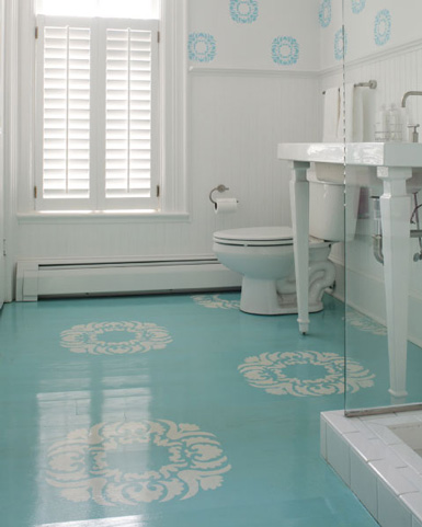 Belle maison painted wood floors would you do it for Painted vinyl floor ideas