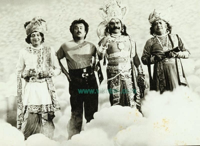 Rajinikanth with Cho Ramaswamy, Vinu Chakravarthy & V.K. Ramaswamy in 'Athisaya Piravi' (1990) Tamil movie