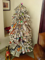 arbol de navidad reciclar papel de diario