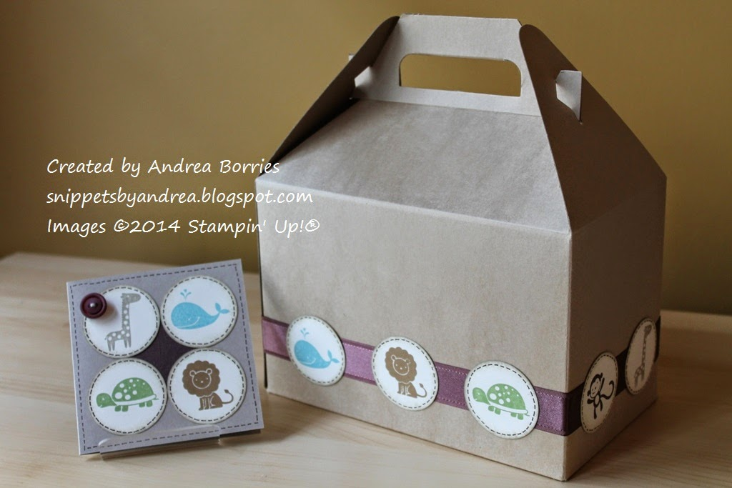 Matching gable gift box and baby card using the Fox and Friends stamp set.