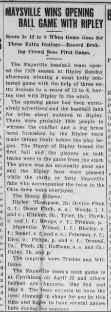 The Public Ledger,  12 April 1920,  Maysville, Kentucky