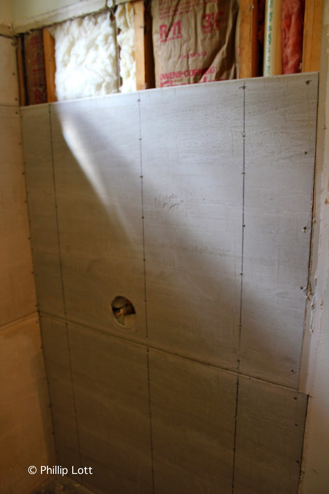 Superb Above The rubber shower pan liner goes down and the concrete board goes up