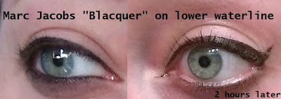 Marc Jacobs BLACQUER gel crayon liner on lower eye rim waterline faded