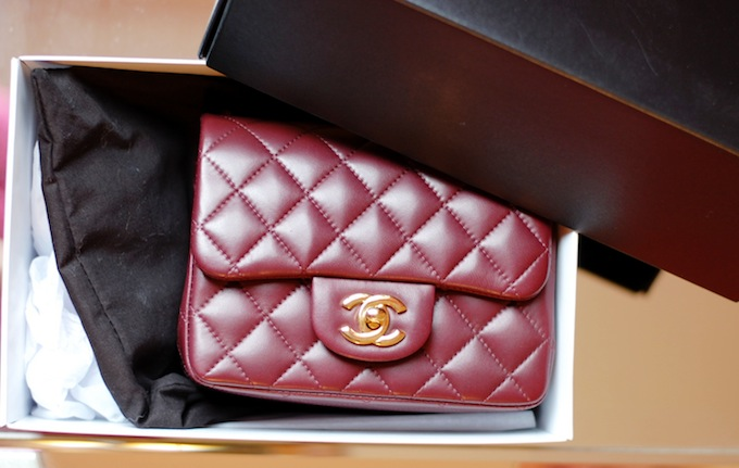 Chanel Mini Flap bag burgundy with gold hardware Covet and Acquire