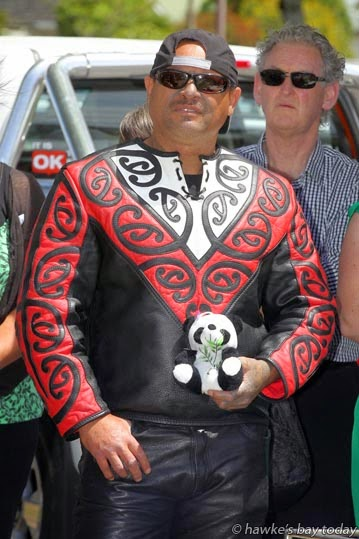 Rex Timu, leader of the Hastings Mongrel Mob, taking a part in an event at Hawke's Bay Hospital, Hastings, where the Hawke's Bay District Health Board, HBDHB, challenged Hastings District Council in the white ribbon challenge to stop violence against women. photograph