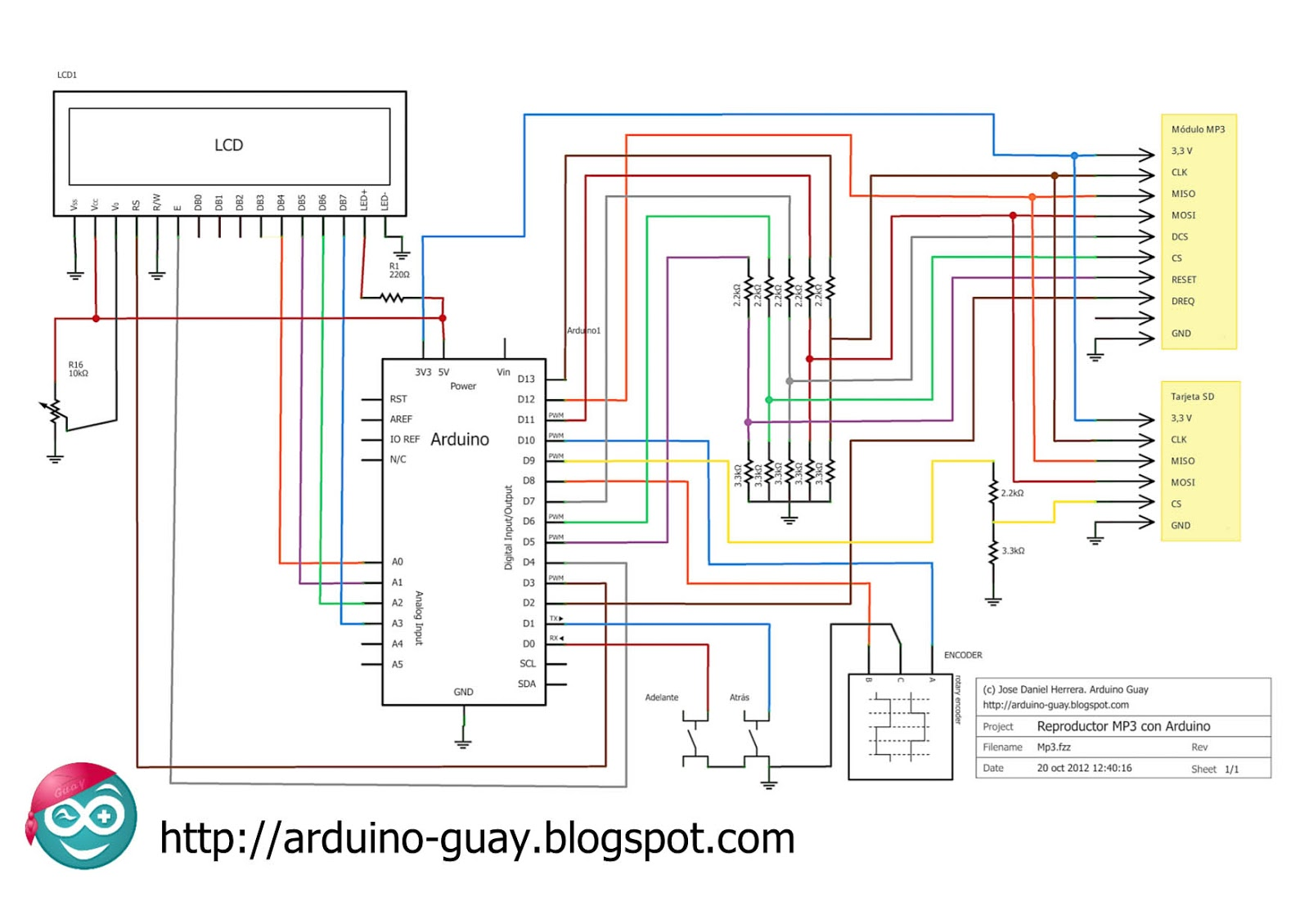 Circuito Arduino : Reproductor mp con arduino i arduino guay