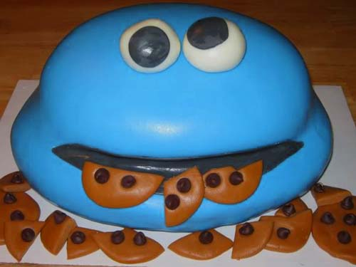 cookie monster cake cream cheese icing