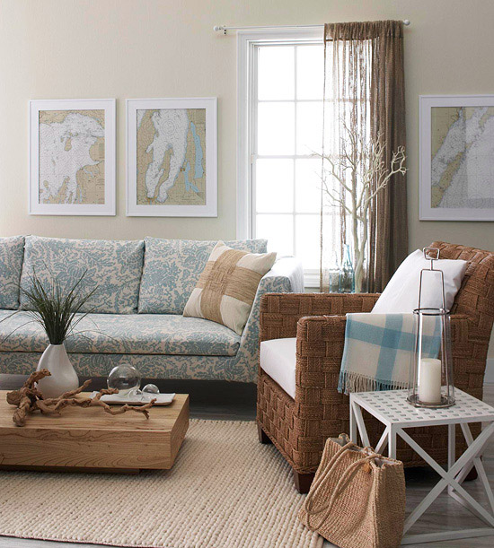 Natural Home Decor Ideas Part - 20: Nature Reigns In This Living Room, Making The Walls Between The Indoors And  Outdoors Seem Like A Formality. Designed With A Subtle Aquatic Theme In  Mind, ...