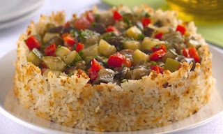 Assado crocante de arroz e legumes light
