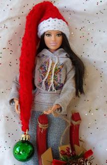 Long santa hat -free barbie crochet pattern