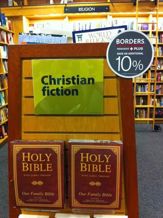 Funny Bible Christian Fiction Borders Book Display Photo