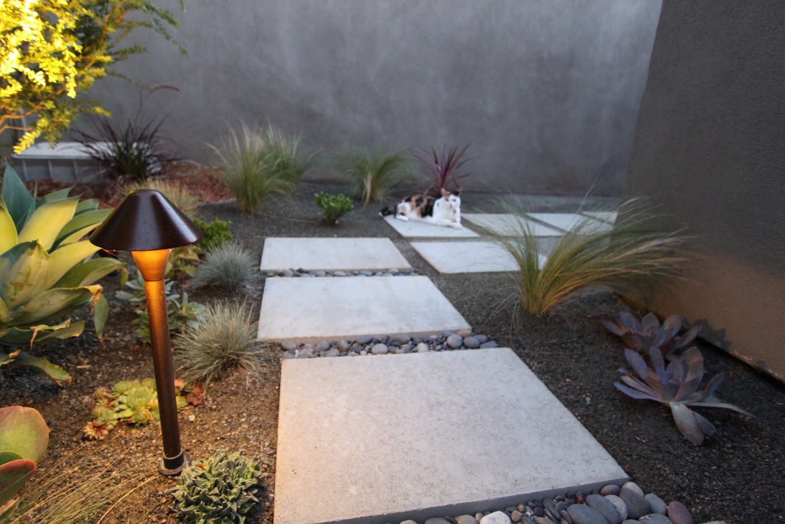 Lighting a mid century modern landscape design mid for Outside landscape
