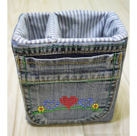 Denim Storage Bucket