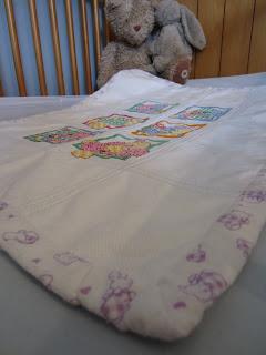 teddy bear afghan close up of binding