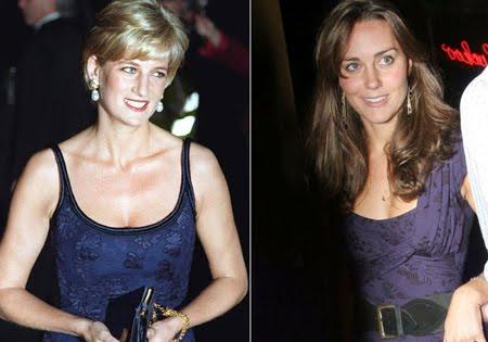 принцеса Даяна и Кейт Мидълтън в тъмносини рокли индиго
