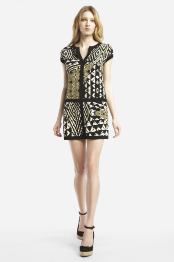 BCBG mud cloth inspired dress- Robe en bogolan par BCBG- See more on ciaafrique.com #Mali #bogolan #mudcloth