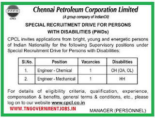 Applications are invited for Engineer (Chemical) and Engineer (Mechanical) Posts Chennai Petroleum Corporation Ltd (CPCL) Chennai under PH Quota