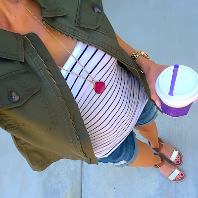Express Military Jacket, Guess Boyfriend Shorts, Stripe Tank