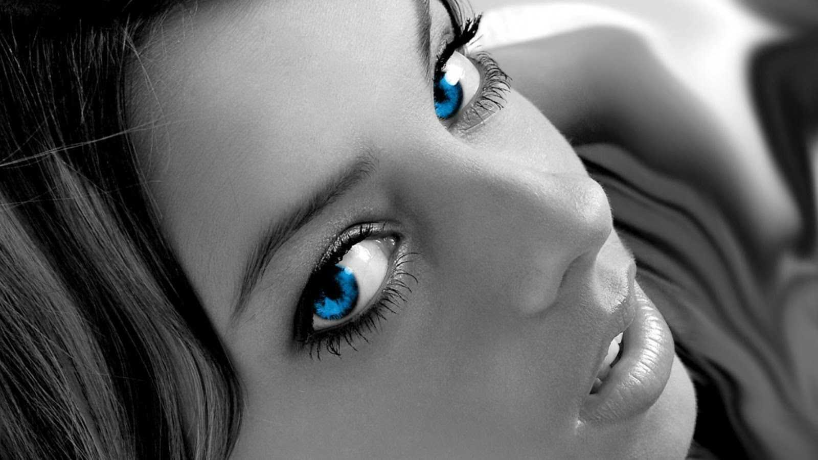 Black And White Girl Blue Eyes Contrast Wall Box
