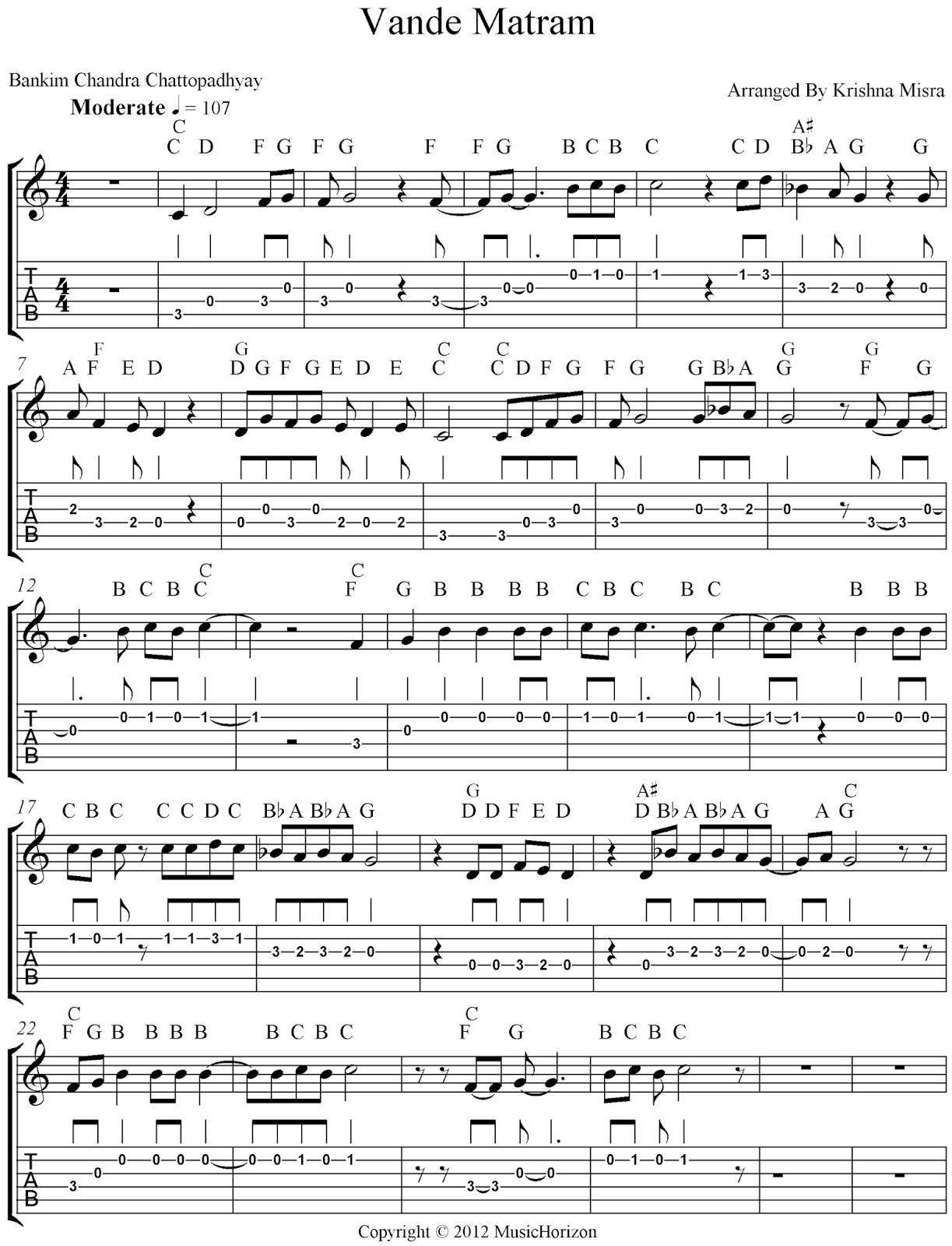 Vande Mataram Piano Notes