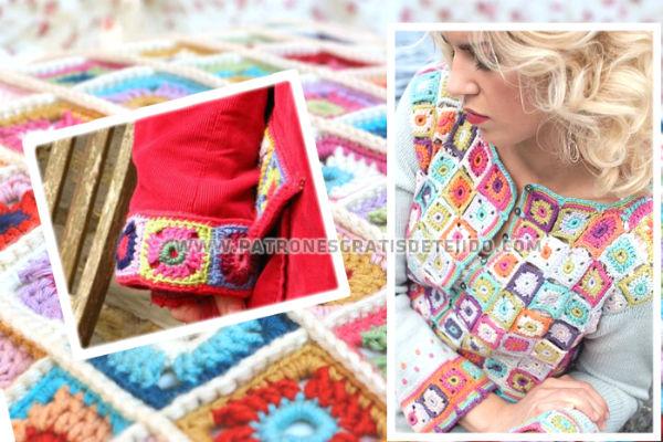 aplicaciones crochet sobre prendas de tela