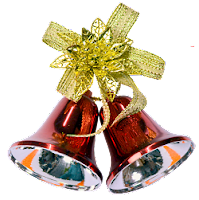 Red Christmas bells with golden bow