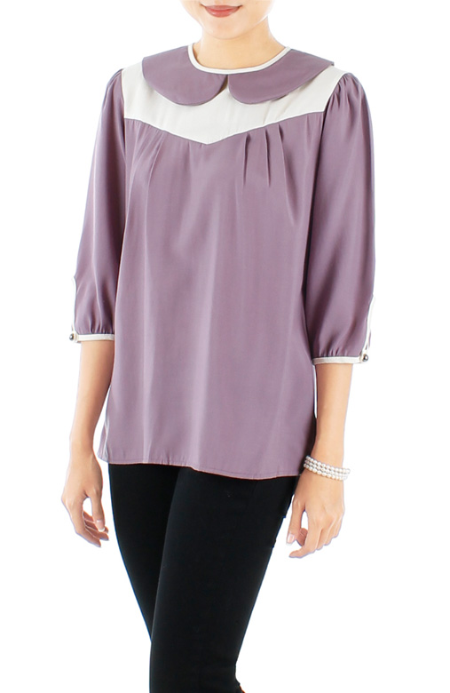 Darling Peter Pan Collar Blouse with Contrast Detailing